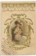 Silk Painted Card,  Peinte  Soie Gaufrée Embossed Gold   Jolie Femme Art Nouveau - Cartoline