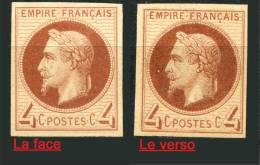 Essai Administratifs Pour La Couleur De 1869 4 C. Brun-rouge, Papier Epais, Imprimé  Recto Verso - 1863-1870 Napoléon III. Laure