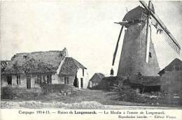Belgique -ref 819- Guerre 1914-18- Ruines De Langemarck -le Moulin A Vent - Theme Moulins   -carte Bon Etat  - - Langemark-Poelkapelle
