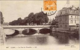 Cpa Caen 14 Calvados Le Pont De Vaucelles Hotel Des Voyageurs - Caen