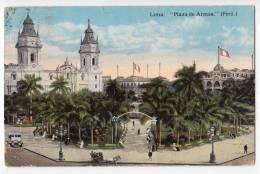 AMERICA PERU LIMA SQUARE OF WEAPONS JAMMED CORNER OLD POSTCARD 1929. - Peru