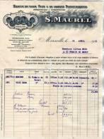 """MARSEILLE FACTURE SOCIETE"""" S MAUREL"""" HUILES TOUS PAYS ET TOUTES PROVENANCES DU 16 AVRIL 1931 - Alimentaire"""