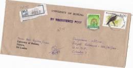 Registered UNIVERSITY Of RUHUNA To UNDP United Nations COVER Matara SRI LANKA Bird Stamps - Sri Lanka (Ceylon) (1948-...)
