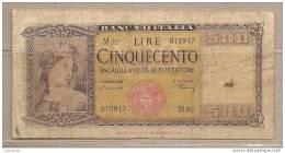 "Italia - Banconota Circolata Da 500 Lire ""Italia Medusa"" - 1947 - [ 2] 1946-… : Républic"