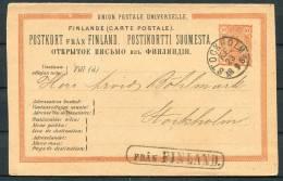 1884 Finland Sweden Fran Finland Paquebot Stockholm Stationery Card