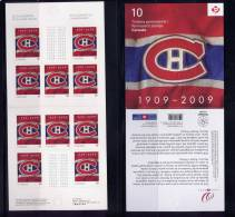 CANADA,  2009,  Bk # 411, 2339a. 100 TH MONTREAL CANADIANS, BKLET 10 STAMPS. M NH, - Carnets Complets