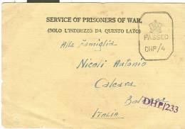 P.O.W., BOMBAY, INDIA, CARTOLINA DI PRIGIONIERO X CALCARA , BOLOGNA ,  1943, CENSURA POSTA , - Prigione E Prigionieri
