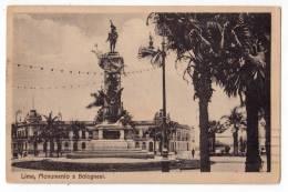 AMERICA PERU LIMA MONUMENT BOLOGNESI OLD POSTCARD 1924. - Peru