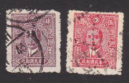 China, Scott #556-557, Used, Dr. Sun Yat-sen, Issued 1944-6 - 1912-1949 Republic