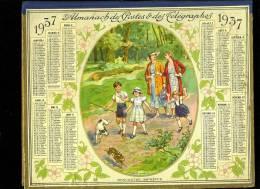 Calendrier 1937 Double Cartonnage, Rencontre Imprévue, Pas De Pages Intérieures - Calendars