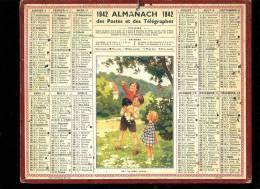 Calendrier 1942,Oh Les Belles Cerises, Au Dos Carte Télégraphe, Téléphone, Chemins De Fer Du Gard - Calendriers