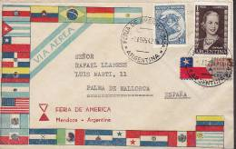 ## Argentina Airmail Via Aerea FERIA DE AMERICA Mendoza Label 1942 Cover Letra To MALLORCA Spain Eva Peron Flag Cachet - Luftpost