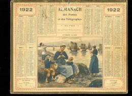 Calendrier 1925,Bretagne En Attendant Le Flot, Joli Scène Enfantine. Au Dos Gard Service Postal Télégraphique Telephoni - Calendars