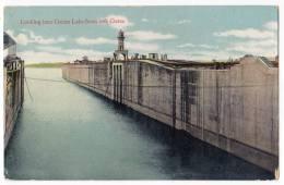 AMERICA PANAMA LOOKING INTO GATUN LAKE FROM LOCK GATES OLD POSTCARD - Panama