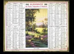 Calendrier 1943, Fin De Journée, Moutons, Au Dos Carte Chemin De Fer De La France. - Big : 1941-60
