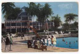 AMERICA PANAMA SWIMMING POOL, HOTEL WASHINGTON OLD POSTCARD 1937. - Panama