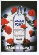 Ref 98  : CPM Carte Promo Pub Absolut Vodka BRAVO - Pubblicitari