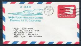 1974 USA NASA X-24B Rocket Flight Stationery Cover - Edwards Airforce Base - Covers & Documents
