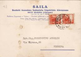 """SILVI MARINA  2.3.1948 /  Cartolina Pubblicitaria """"SAILA - Società Anonima Industr. Liquilizia Abruzzese"""" _  Viaggiata - Teramo"""