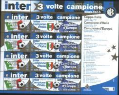 San Marino 2010 Calcio Soccer  Inter Tre Volte Campione Minifoglio Con 4 Serie  ** MNH - Unused Stamps