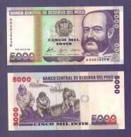 PERU 1988 UNC Banknote  5.000 Intis - Peru