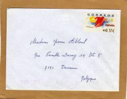 Enveloppe Brief Cover Vignette To Ecaussinnes Belgique - Espagne