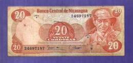 Nicaragua 1969 Used VG  Banknote  20 Cordobas (dirty) Km120 - Nicaragua