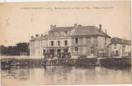 CPA 95 SAINT OUEN L'AUMONE Bateaux De Pêche Sur L'Oise Devant Le Restaurant Hôtel Tabac Maison CARLES 1935 - Saint-Ouen-l'Aumône