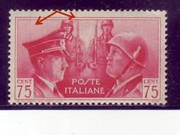 HITLER -MUSSOLINI-75 C-WW II-ERROR-RARE-VERTICAL LINES-ITALY-1941 - 1900-44 Victor Emmanuel III