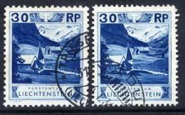LIECHTENSTEIN 1930 Definitive 30 Rp. With Both Perforations 10½ And 11½ Used.  Michel 99A+B - Liechtenstein