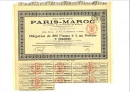 Paris Maroc Obligation De 500 F 6% Au Porteur - Other