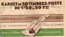 Carnet De 20 Timbres Poste De 1F50/Vide/Loterie Nationale/S.67/vers 1925   TIMB43 - Other Collections