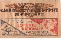 Carnet de 20 timbres poste de 0,90f /Vide/Loterie Nationale/S.56/vers 1925   TIMB44