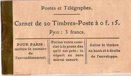 Carnet De 20 Timbres Poste à 0f15/Vide///vers 1916-18 TIMB45 - Other Collections