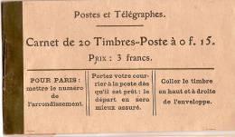 Carnet De 20 Timbres Poste à 0f15/Vide///vers 1916-18 TIMB45 - Autres Collections