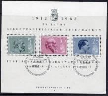 LIECHTENSTEIN 1962 Stamp Anniversary Block Used.  Michel Block 6 - Liechtenstein