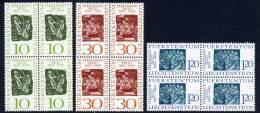 LIECHTENSTEIN 1965 Ferdinand Nigg Centenary Set In Blocks Of 4 MNH / **.  Michel 455-57 - Liechtenstein