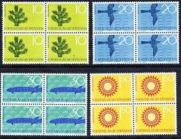 LIECHTENSTEIN 1966 Nature Protection Set In Blocks Of 4 MNH / **.  Michel 460-63 - Liechtenstein