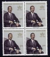 LIECHTENSTEIN 1966 Prince's 60th Birthday In Block Of 4 MNH / **.  Michel 464 - Liechtenstein