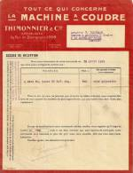LYON ETSTHIMONNIER MACHINE A COUDRE FACTURE ANNEE 1923 ENVOYE A LA MOTTE SERVOIEX - France