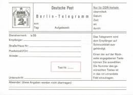 """1037// DEUTSCHLAND/ DDR- Ganzsache """"""""Telegramm"""""""" - T 2 - Ungestempelt - Unclassified"""
