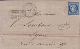 VAUCLUSE - SABLET PRES L'OUVEZE T24 N°60 OBLITERATON GC3256 - LETTRE AVEC TEXTE-SUPERBE-INDICE 16 - COTE 180€. - 1849-1876: Classic Period