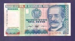 PERU 1989 UNC Banknote  500.000 Intis - Peru