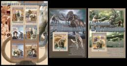 GUINEA 2008 - Elephants & Mammoths, M/S + 2 S/S - Mi 5525-30 + B1517-8, YT 3495-500 + BF868-9 - Prehistorie