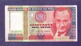 PERU 1988 UNC Banknote  50.000 Intis - Peru