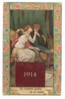 B225 CALENDARIO CARTOLINA 1914 LIBERTY MESI STACCABILI COMPLETO - Calendari