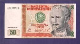 PERU 1986 UNC Banknote  50 Intis - Peru