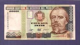 PERU 1989 UNC Banknote  100.000 Intis - Peru