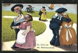 """CPA """"Ja, Treu Ist Die Matrosenliebe"""", Deutsche Matrosen Mit Ihren Geliebten Am Uferweg, Karikatur - Bateaux"""
