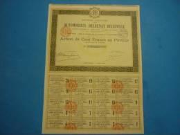 ACTION 1924  AUTOMOBILMES DELAUNAY BELLEVILLE DE 100 FRANCS AU PORTEUR Complète - Automobile